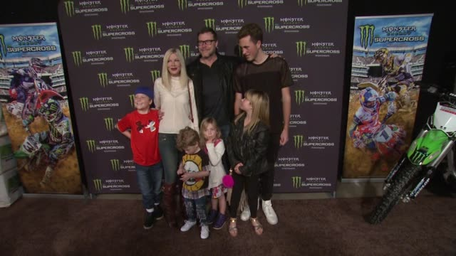 tori spelling, dean mcdermott, jack montgomery mcdermott, finn davey mcdermott, stella doreen mcdermott, hattie margaret mcdermott, and liam aaron... - tori spelling stock videos & royalty-free footage