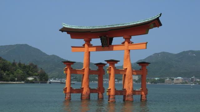 WS Torii gate at Itsukushima Shrine at high tide, Miyajima Island, Japan