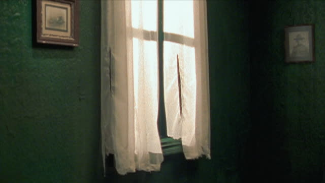 slo mo ms torn window curtains moving in wind, new york city, new york state, usa - curtain stock videos & royalty-free footage