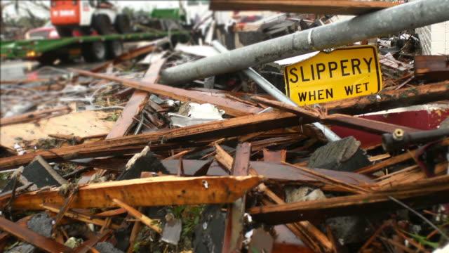 tornado damage street sign - vortex stock videos & royalty-free footage