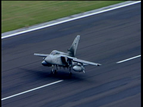 raf tornado jet fighter takes off from runway england; 2005 - raf stock videos and b-roll footage
