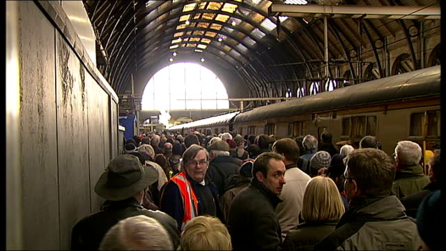 tornado steam train completes first big run london general views of spectators crowding platform as steam train pulls into king's cross station close... - digital camera stock videos and b-roll footage