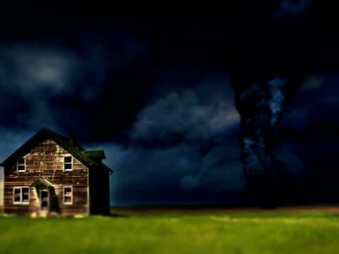 tornado twister with farmhouse - kansas stock videos & royalty-free footage