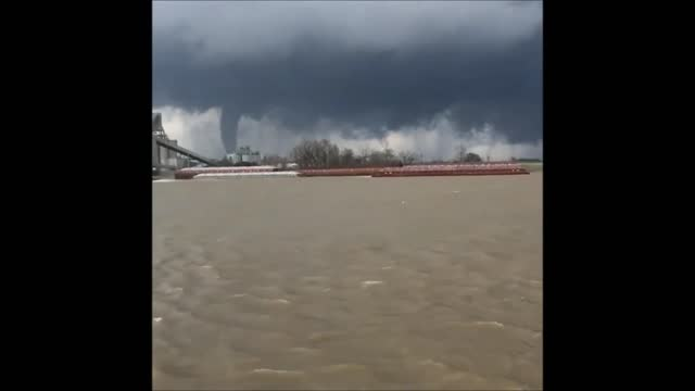 tornado was sighted in st. james parish, louisiana on tuesday, february 7. this footage shows the tornado from across the lower mississippi river in... - convent stock videos & royalty-free footage