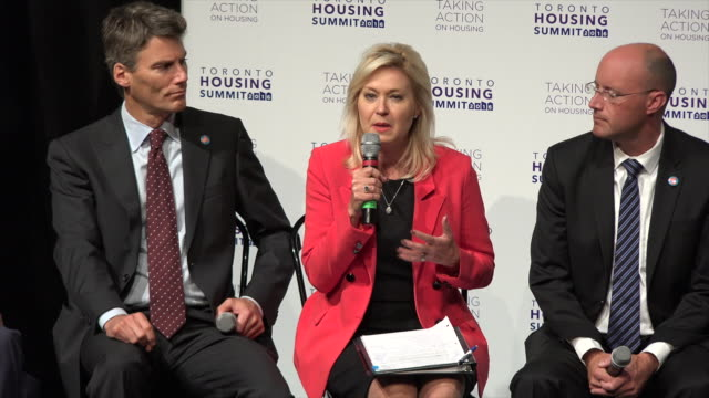 toronto affordable housing summit 2016: bonnie crombie speaking. he is the mayor of mississauga. the meeting revealed main issues of canadian society... - middle class stock videos & royalty-free footage