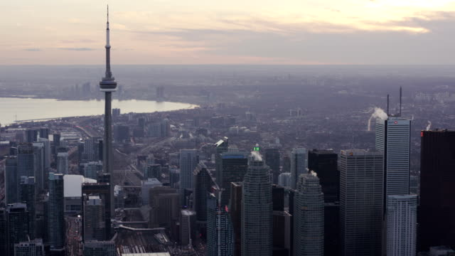 toronto canada aerial city skyline - toronto stock videos & royalty-free footage