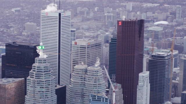 toronto canada aerial city skyline - financial district stock videos & royalty-free footage