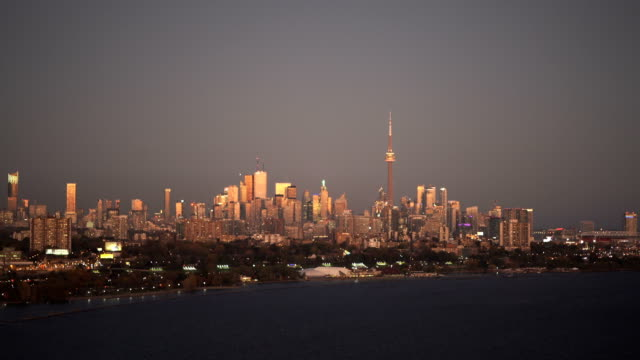 toronto, canada, aerial view of toronto skyline and lake ontario - tower stock videos & royalty-free footage