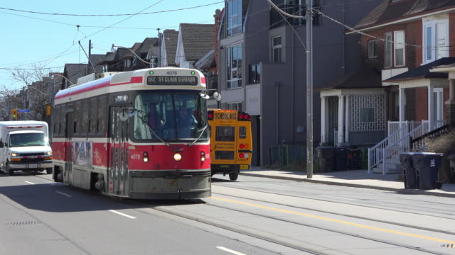 toronto canada: bathurst street vintage street car route during the daytime - fleet of vehicles stock videos and b-roll footage
