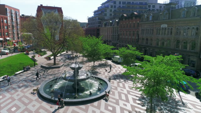 toronto, canada, berczy park aerial view - toronto stock videos & royalty-free footage