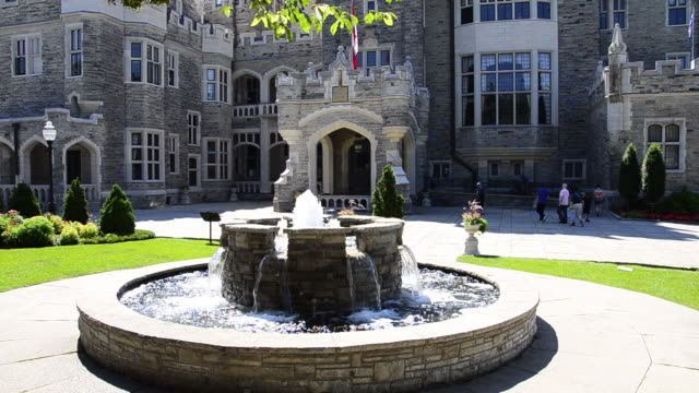 toronto canada: casa loma medieval castle in the capital city of the province of ontario - gothic stock videos & royalty-free footage