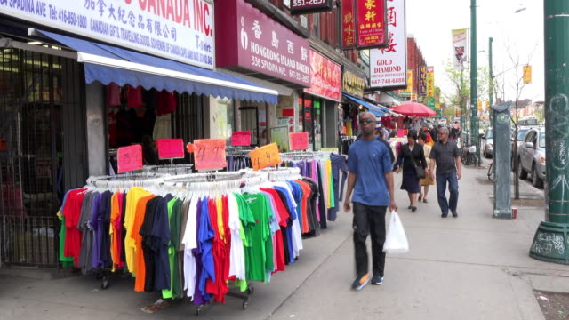 toronto, canada: chinatown business selling items in the sidewalk - multiculturalism stock videos & royalty-free footage
