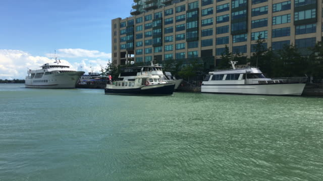 toronto, canada: city harbourfront or waterfront. point of view of the famous place which is a tourist attraction in the capital city of the ontario province. real time image in natural light. - ontariosee stock-videos und b-roll-filmmaterial