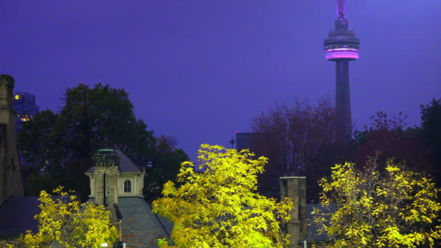 Toronto, Canada: CN tower at night during the Autumn or Fall season