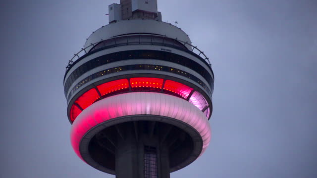 Toronto, Canada: CN Tower in red and white colours during Canada Day