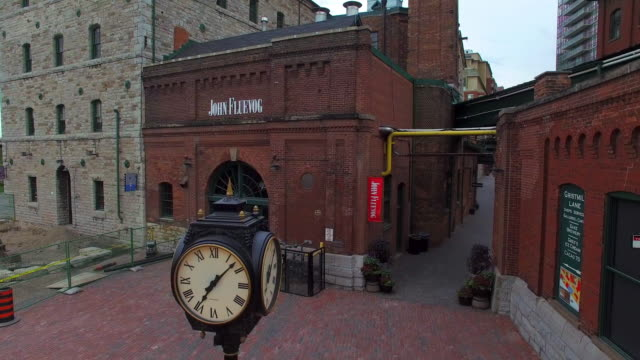 toronto canada: distillery district, heritage historic place - international landmark stock videos & royalty-free footage