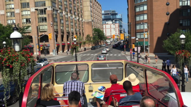 Toronto Canada: Double Decker Tourist Bus in the Downtown District, point of view