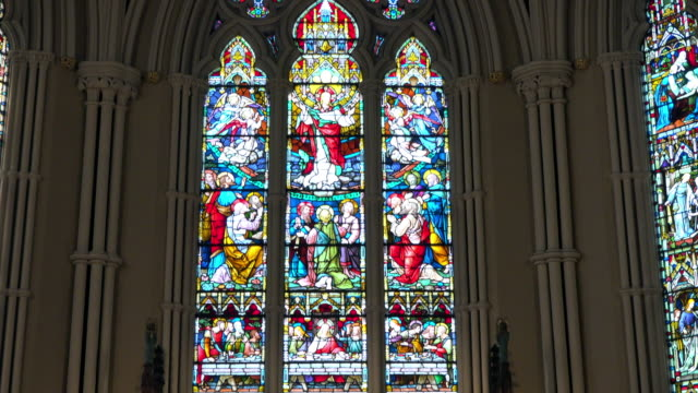 toronto canada: indoors in the saint james cathedral church - cathedral stock videos & royalty-free footage