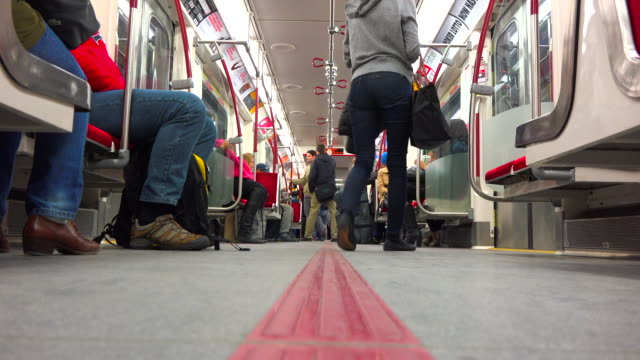 Toronto, Canada: inside of a new TTC subway train, point of view