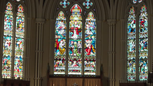 toronto, canada: inside of the saint james cathedral - anglican stock videos & royalty-free footage