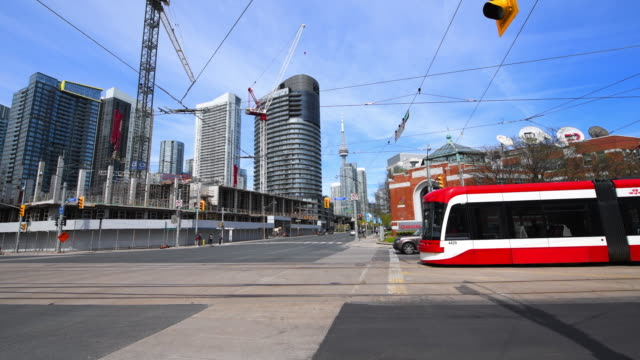Toronto Canada: Modern streetcar in the intersection of Queen's Quay and Lake Shore Boulevard West