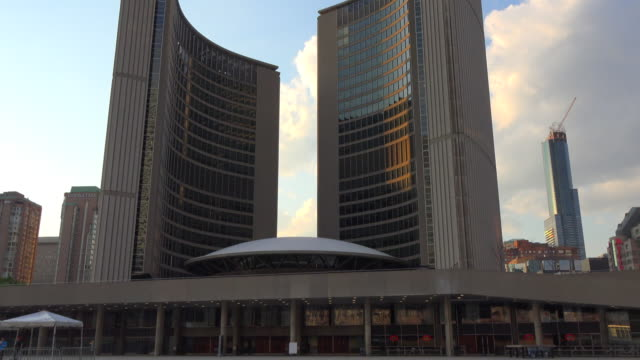 toronto canada: new city hall building exterior, tilt down - local landmark stock videos and b-roll footage
