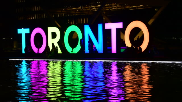 toronto, canada: night view of 3d iconic sign with the lights on - toronto stock videos & royalty-free footage
