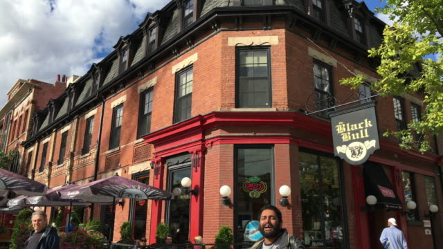 toronto, canada: old buildings of queen street west, red brick architecture - pavement cafe stock videos and b-roll footage
