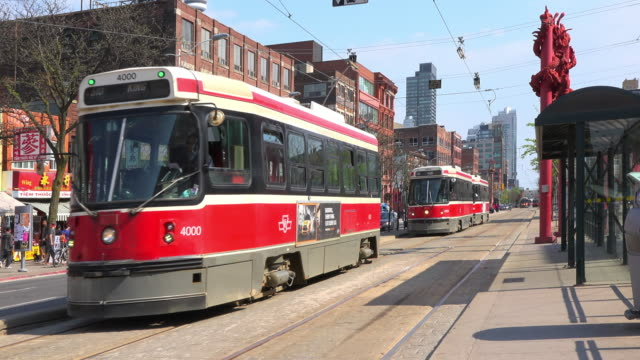 toronto, canada: old streetcars or cable cars in spadina avenue - cable car stock videos & royalty-free footage