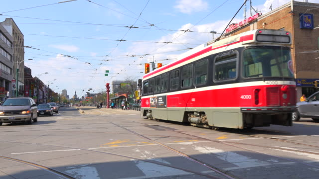toronto canada: old vintage streetcar or cable car in the downtown district - tram stock videos & royalty-free footage