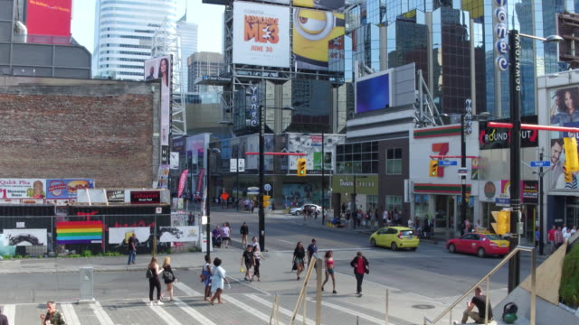 stockvideo's en b-roll-footage met toronto, canada: ryerson student centre at yonge street, modern architecture in the downtown district of the capital city of the province of ontario - ontario canada