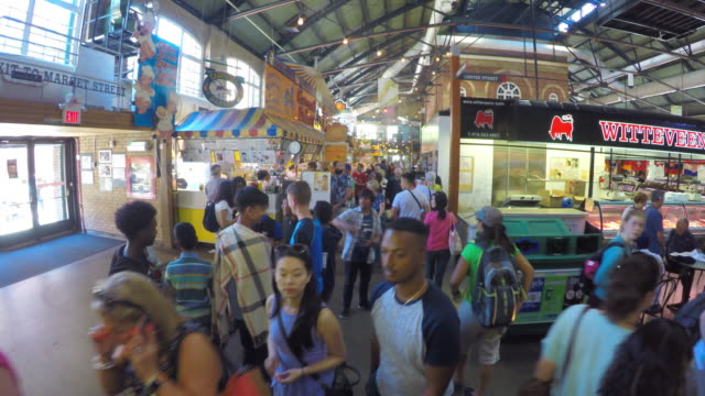 toronto canada: saint lawrence market, walking among the crowd - toronto stock videos & royalty-free footage