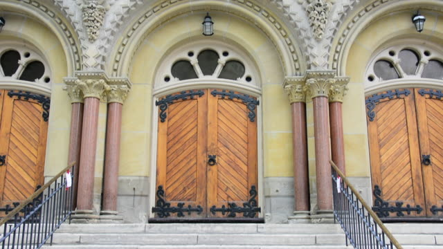 toronto canada: st. andrew church architecture of the facade - revival stock videos & royalty-free footage
