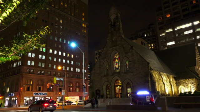 toronto, canada: the church of the redeemer at night in the downtown district of the canadian city - anglican stock videos & royalty-free footage