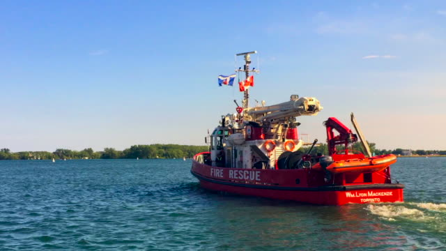 Toronto, Canada: The fireboat William Lyon Mackenzie leaves the dock in Lake Ontario