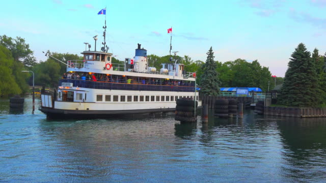 toronto, canada: the old ferry serving the transportation between the city and the centre island - ferry stock videos & royalty-free footage
