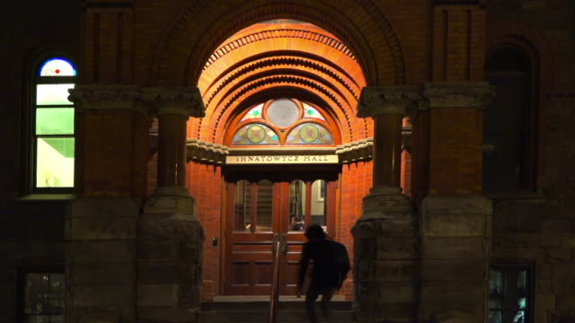toronto, canada: the royal conservatory of music main entrance door at night - ontario canada stock videos & royalty-free footage