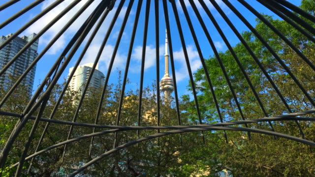 toronto, canada: tilt down below the gazebo in the music garden which is located in the canadian city waterfront - gazebo stock videos & royalty-free footage