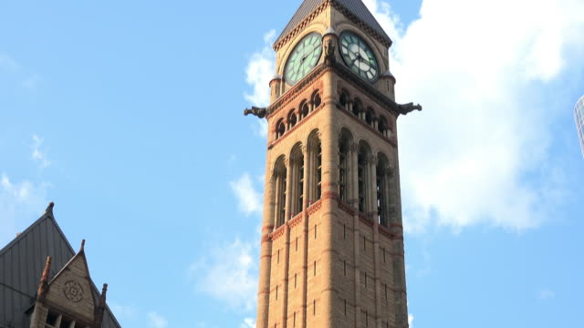 toronto, canada: tilt down of the old city hall clock tower - local landmark stock videos & royalty-free footage