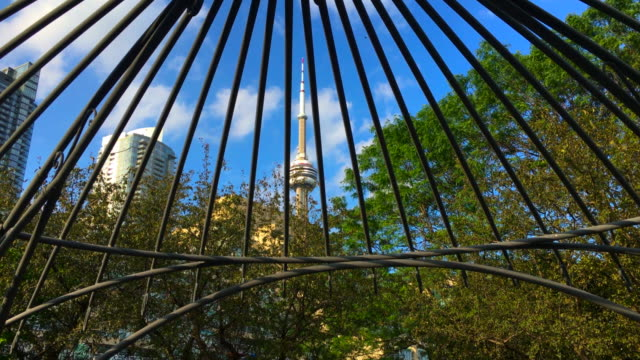 toronto, canada: tilt up below the gazebo in the music garden which is located in the canadian city waterfront - gazebo stock videos & royalty-free footage