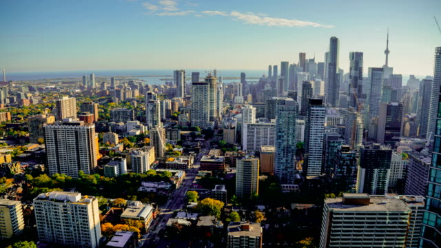 toronto canada timelapse skyline traffic - building exterior stock videos & royalty-free footage