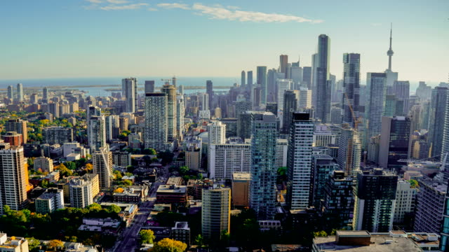 toronto canada timelapse skyline traffic - financial district stock videos & royalty-free footage