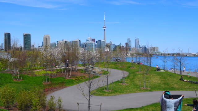 toronto canada: urban skyline including the cn tower during the daytime - cn tower stock videos & royalty-free footage
