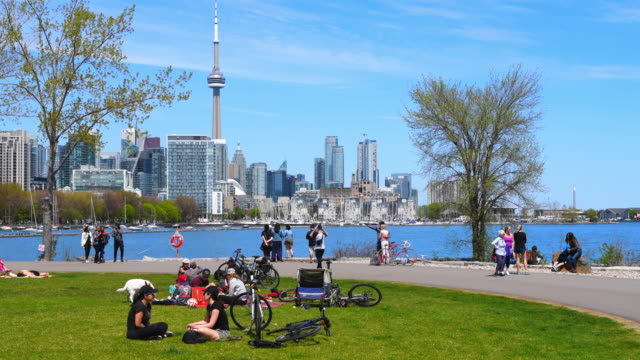 toronto canada: urban skyline including the cn tower during the daytime - toronto stock videos & royalty-free footage