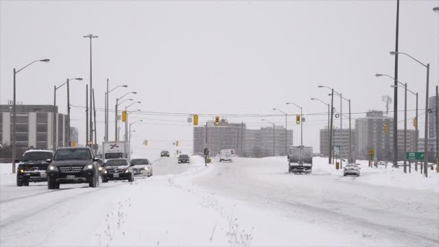 Toronto Canada: Winter season snow scene in Victoria Park Avenue during the daytime.