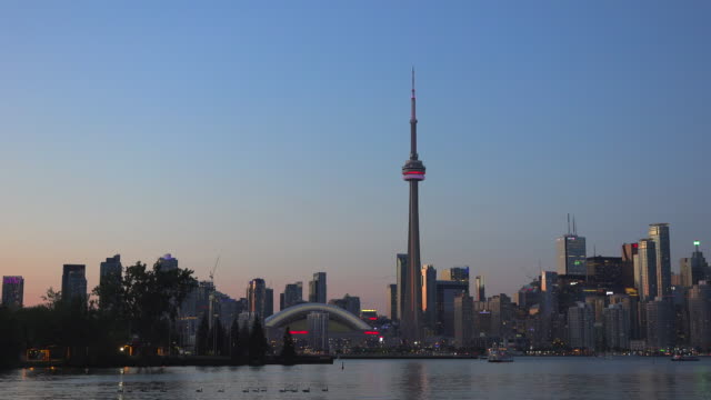Toronto City Urban Skyline at Dusk from Lake Ontario- Toronto,Canada