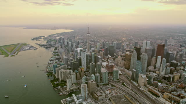 aerial toronto in ontario, canada at sunset - ontario canada stock videos & royalty-free footage