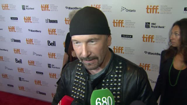 toronto international film festival from the sky down premiere toronto on canada 9/8/11 - david 'the edge' howell evans stock videos and b-roll footage
