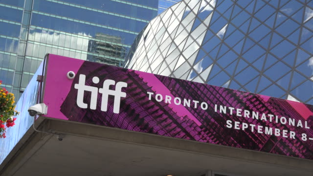 Toronto International Film Festival Zoom out from the event signage in the Roy Thompson Hall CN tower and other downtown buildings can be seen in a...
