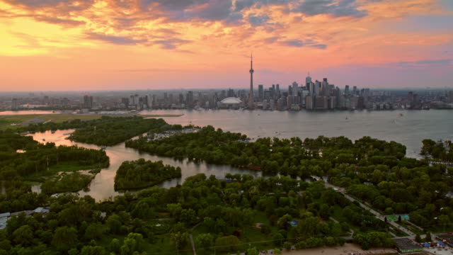aerial toronto islands and the city of toronto at sunset - ontario canada stock videos & royalty-free footage